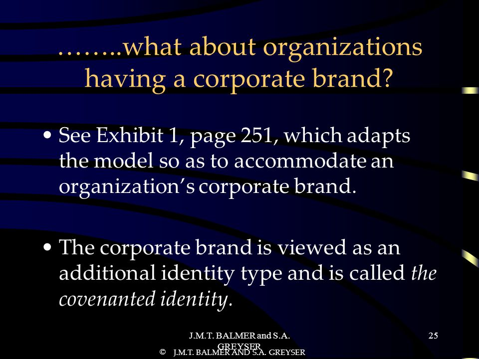 ……..what about organizations having a corporate brand