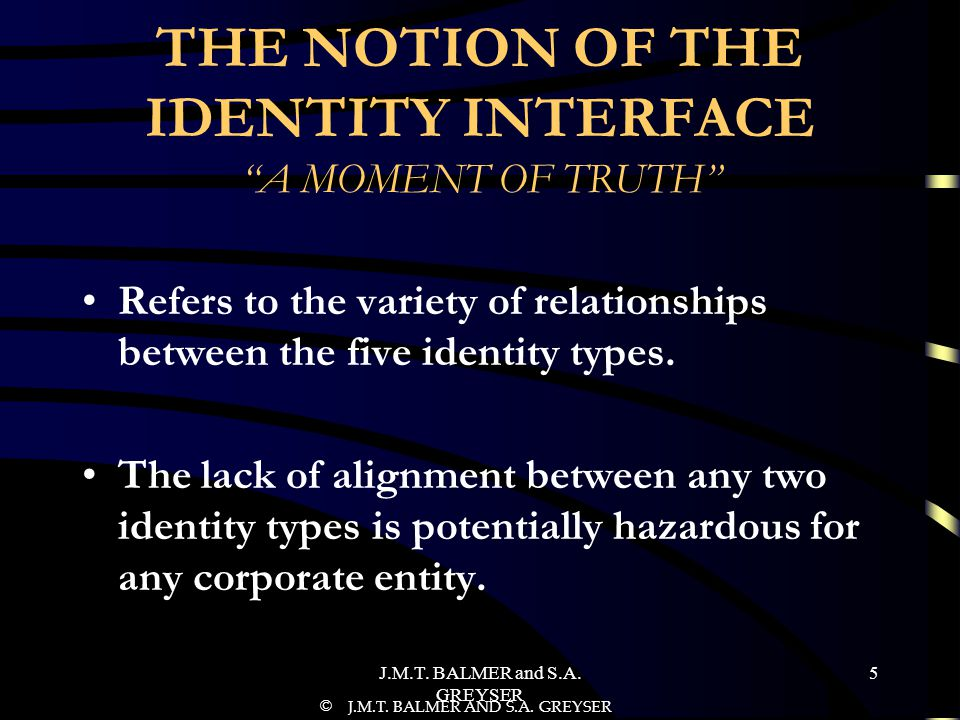 THE NOTION OF THE IDENTITY INTERFACE A MOMENT OF TRUTH