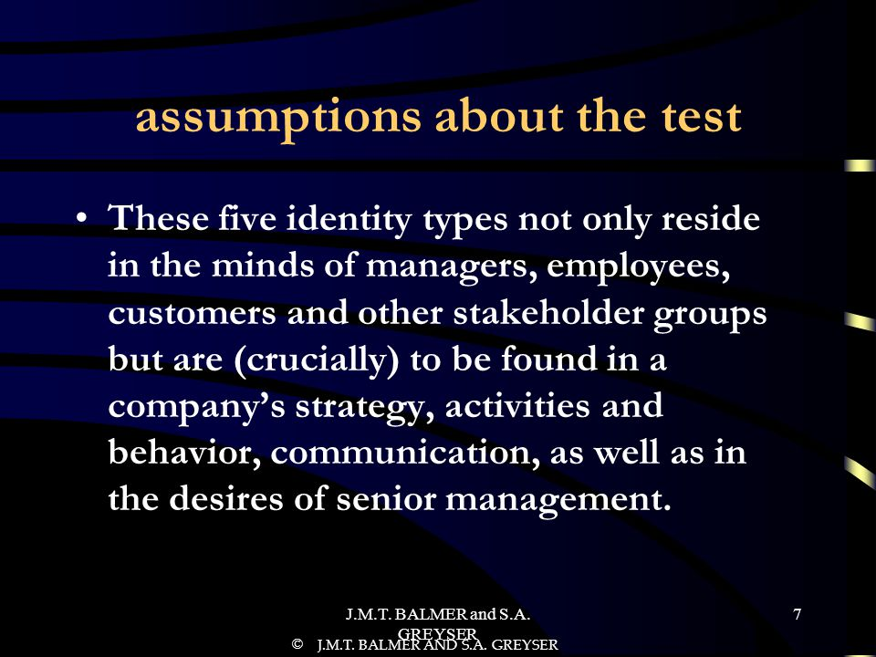 assumptions about the test
