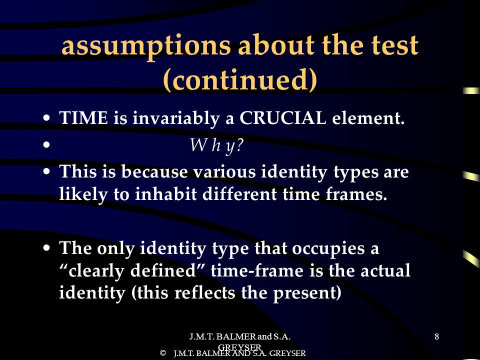assumptions about the test (continued)