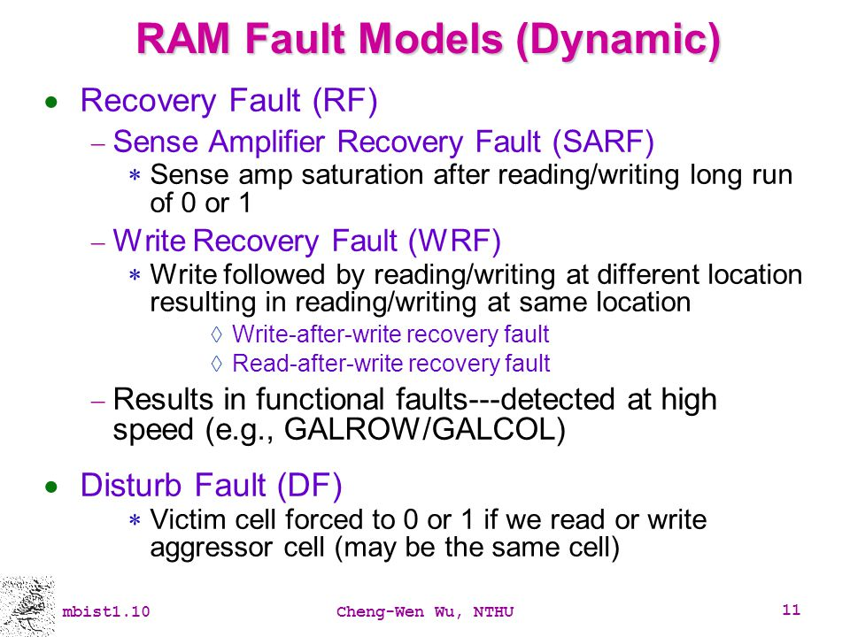 RAM Fault Models (Dynamic)