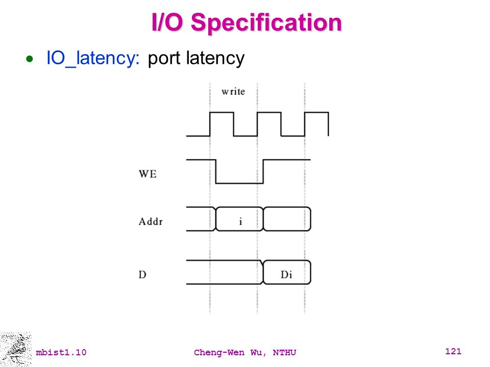 I/O Specification IO_latency: port latency mbist1.10