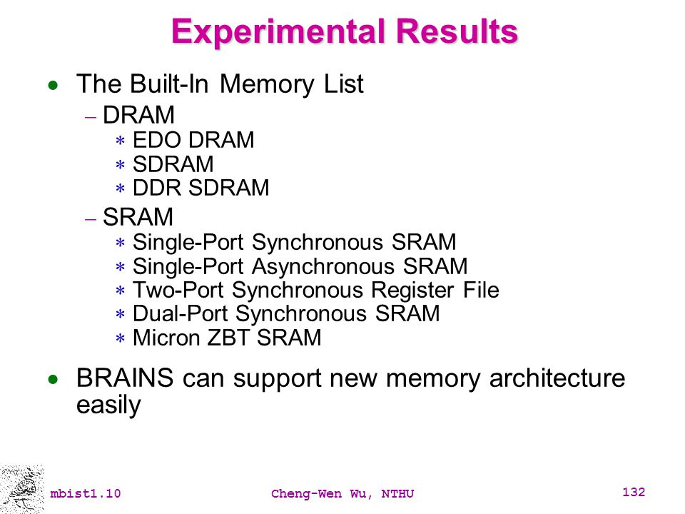 Experimental Results The Built-In Memory List