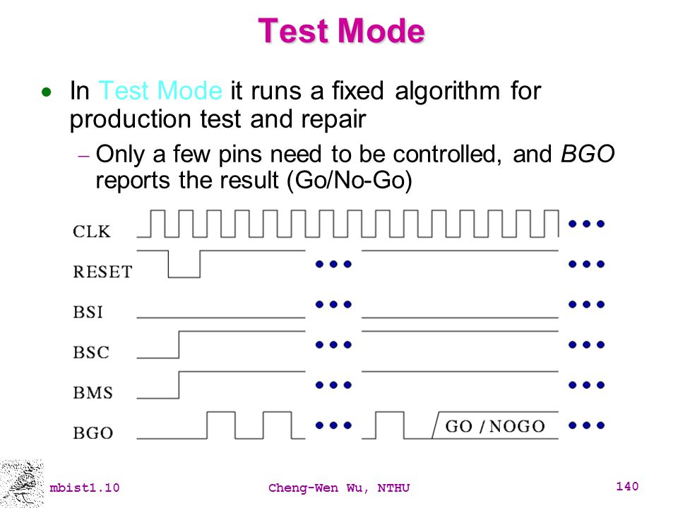 Test Mode In Test Mode it runs a fixed algorithm for production test and repair.