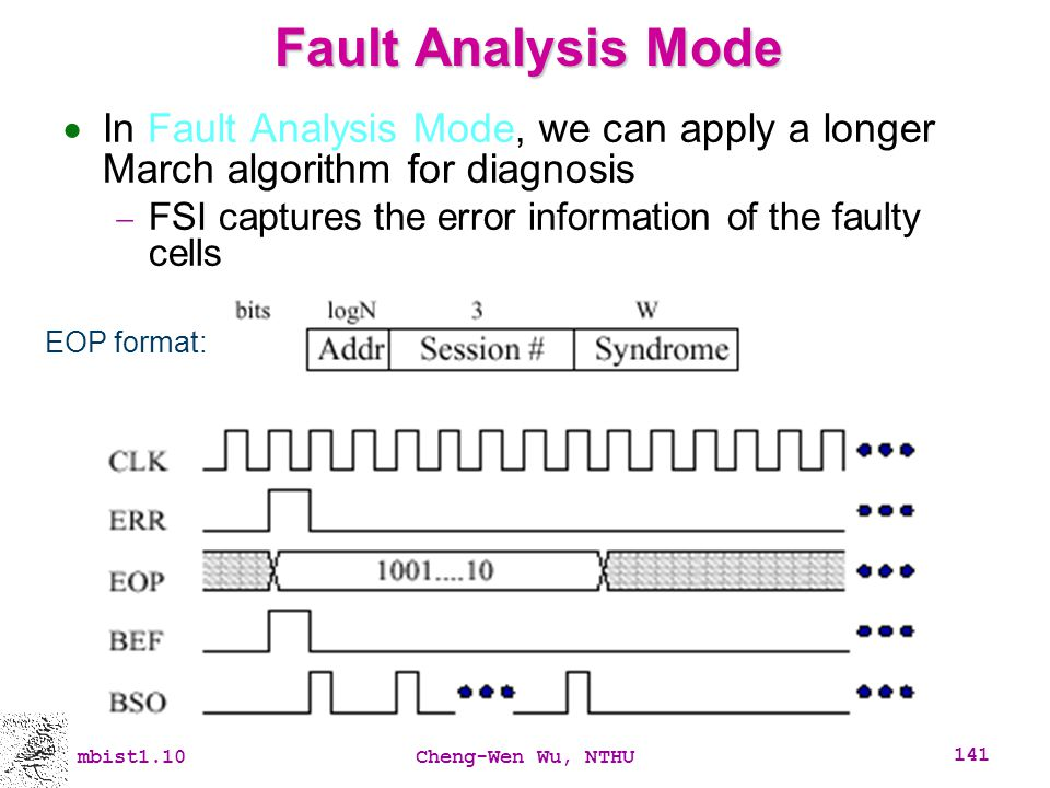 Fault Analysis Mode In Fault Analysis Mode, we can apply a longer March algorithm for diagnosis.