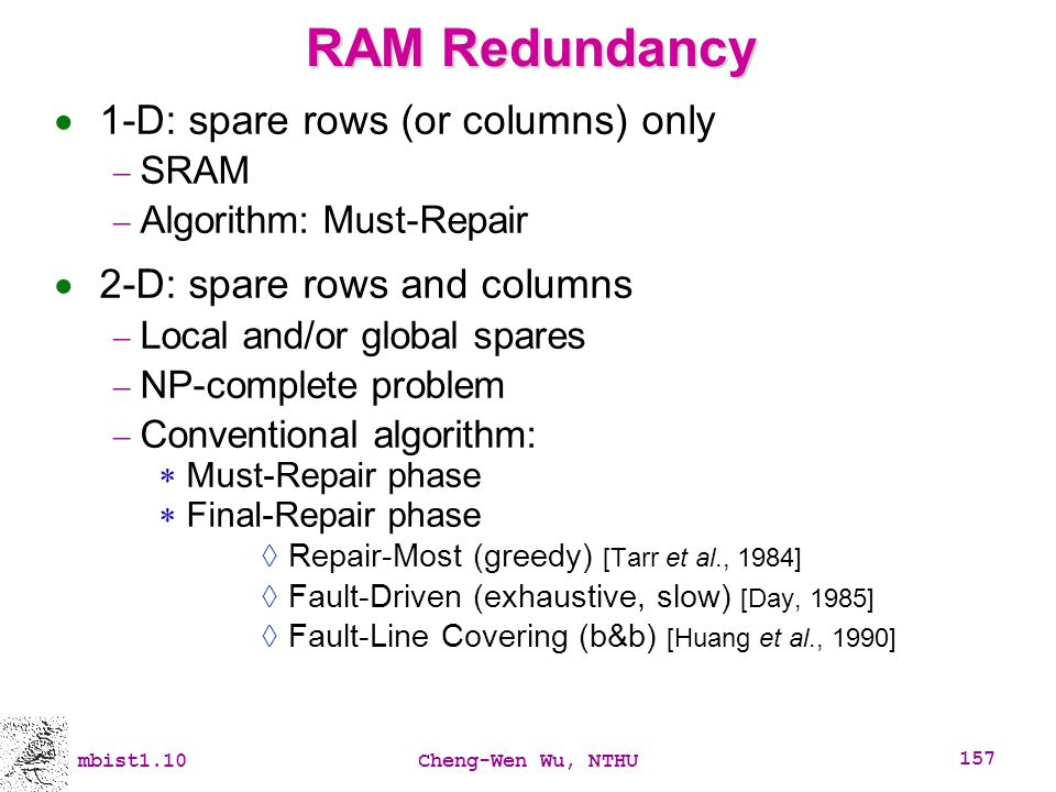 RAM Redundancy 1-D: spare rows (or columns) only