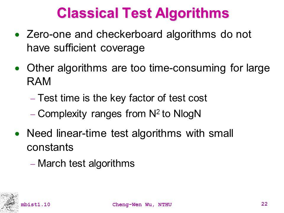 Classical Test Algorithms