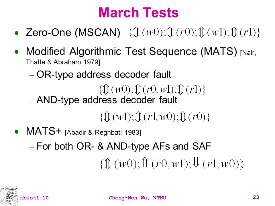 March Tests Zero-One (MSCAN)