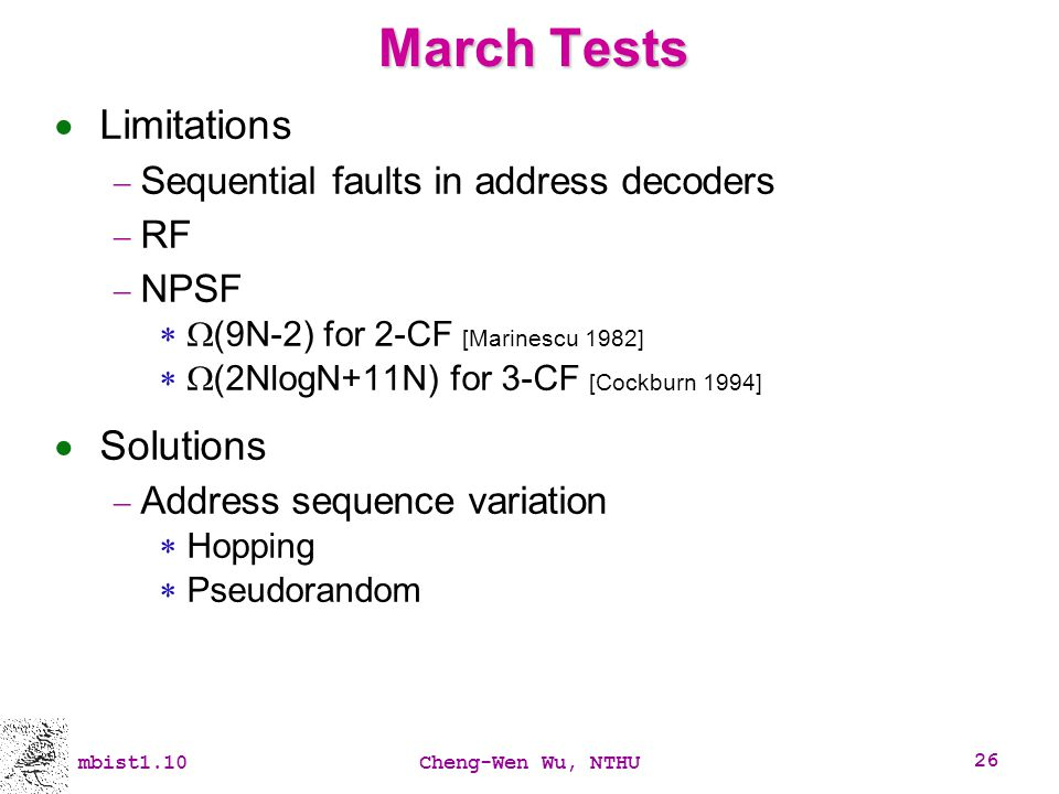 March Tests Limitations Solutions