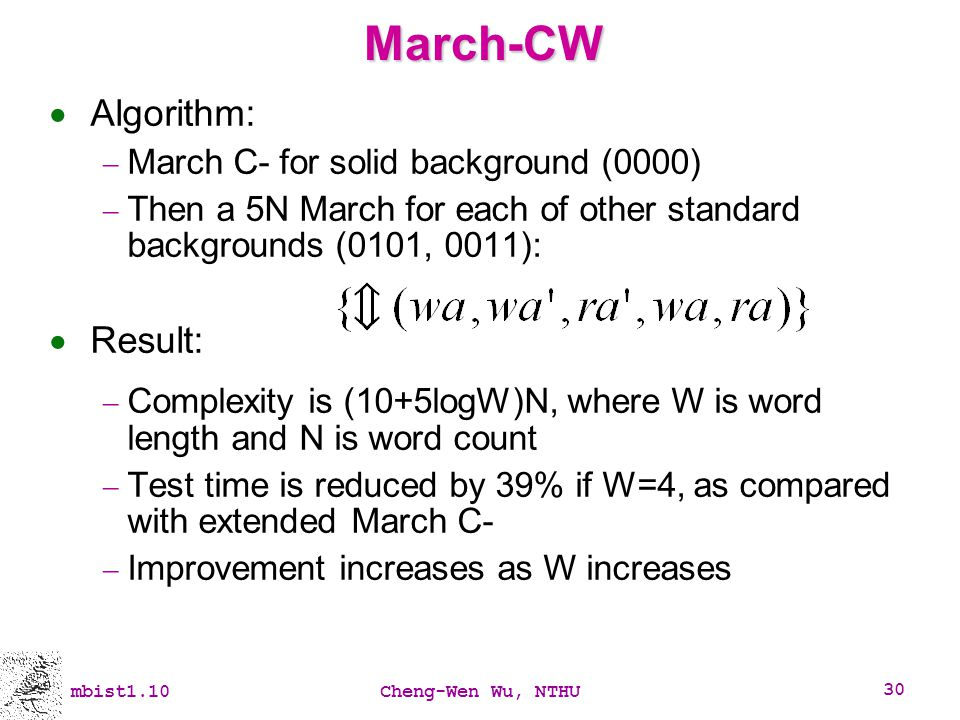 March-CW Algorithm: Result: March C- for solid background (0000)