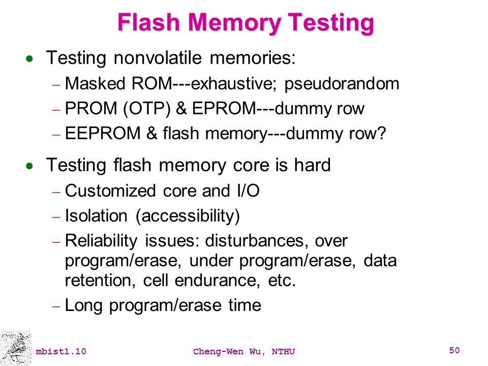 Flash Memory Testing Testing nonvolatile memories: