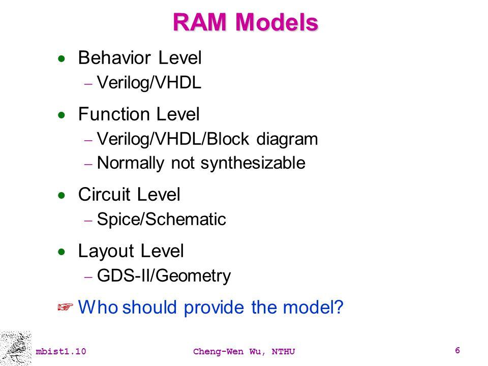 RAM Models Behavior Level Function Level Circuit Level Layout Level
