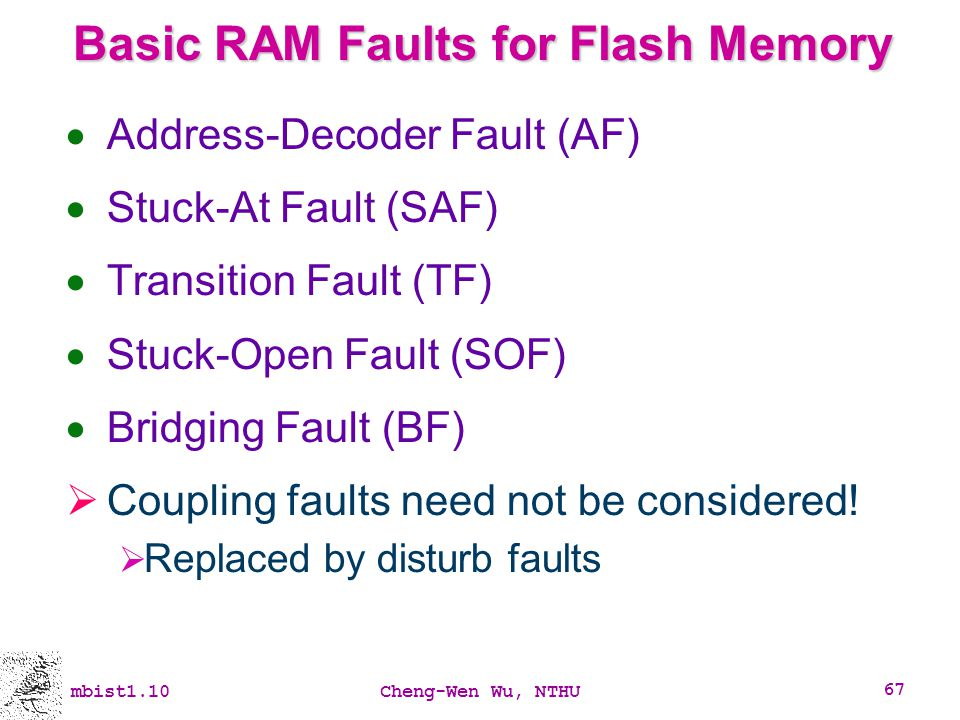 Basic RAM Faults for Flash Memory