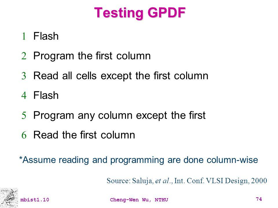 Source: Saluja, et al., Int. Conf. VLSI Design, 2000