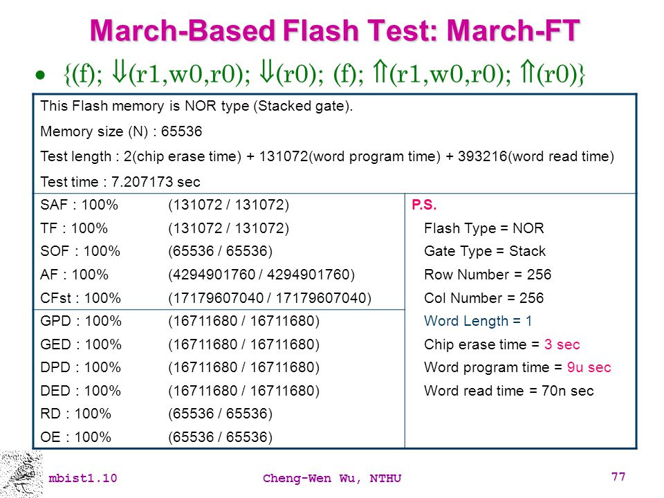 March-Based Flash Test: March-FT