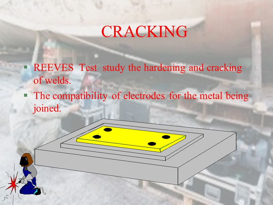 CRACKING REEVES Test study the hardening and cracking of welds.