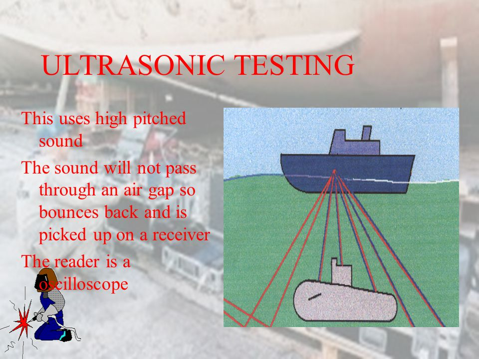 ULTRASONIC TESTING This uses high pitched sound