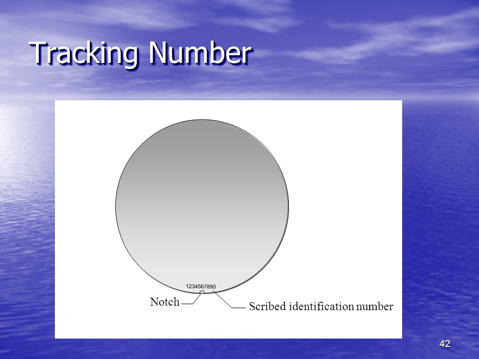 Tracking Number 1234567890 Notch Scribed identification number
