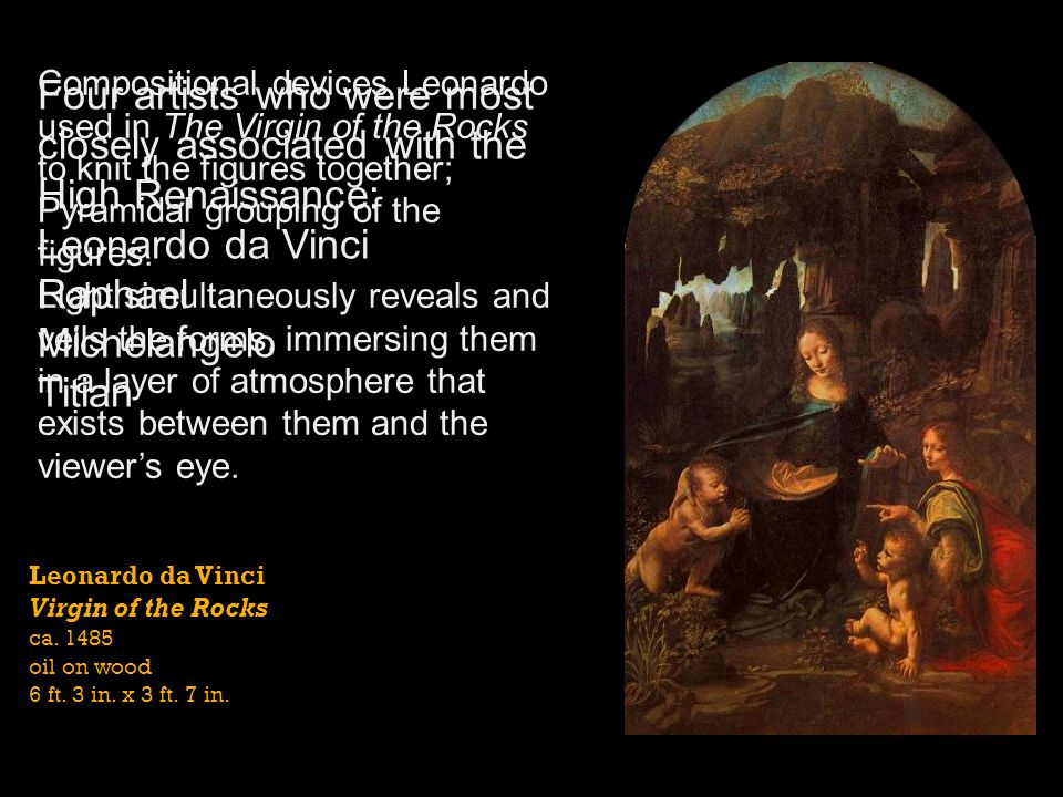 Compositional devices Leonardo used in The Virgin of the Rocks to knit the figures together;