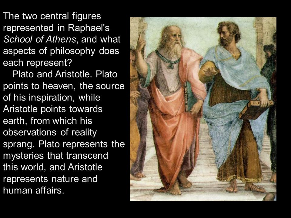 The two central figures represented in Raphael s School of Athens, and what aspects of philosophy does each represent