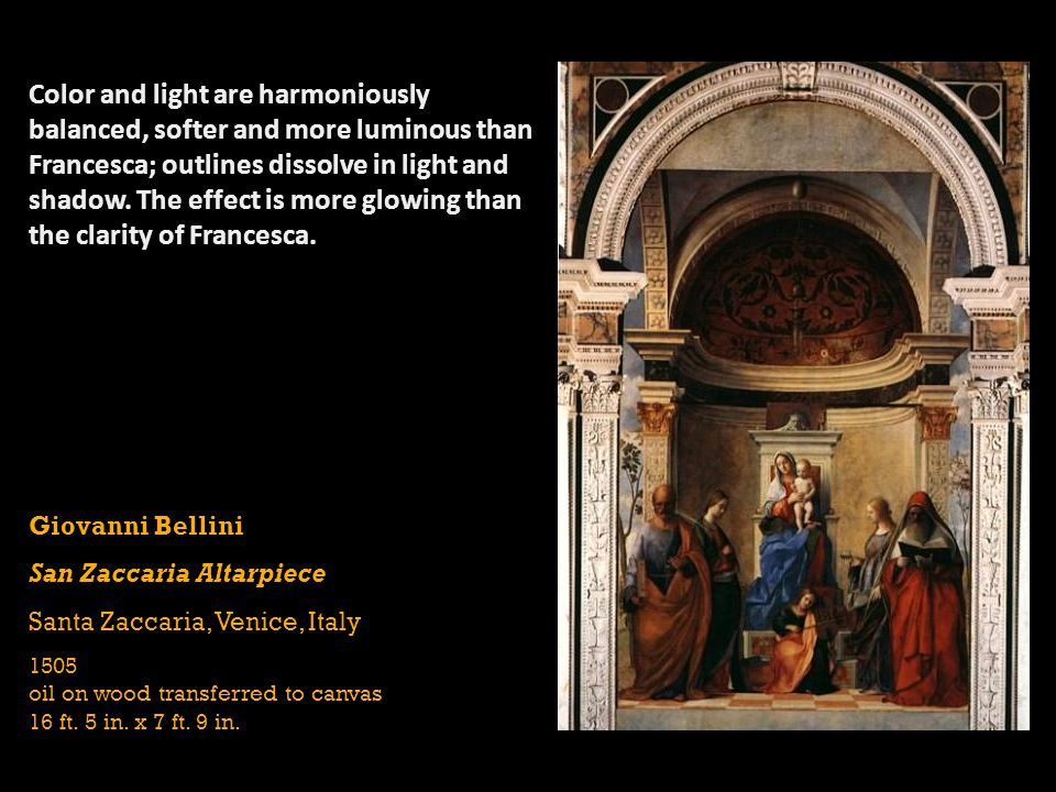 Color and light are harmoniously balanced, softer and more luminous than Francesca; outlines dissolve in light and shadow. The effect is more glowing than the clarity of Francesca.