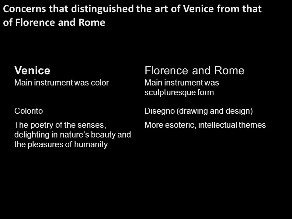 Concerns that distinguished the art of Venice from that of Florence and Rome