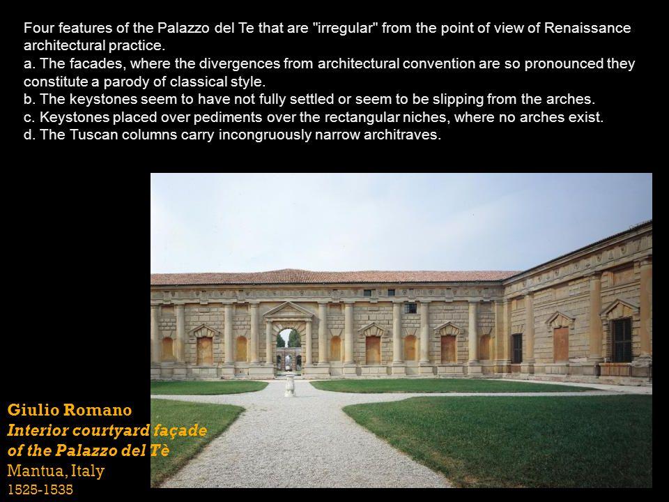 Interior courtyard façade of the Palazzo del Tè Mantua, Italy