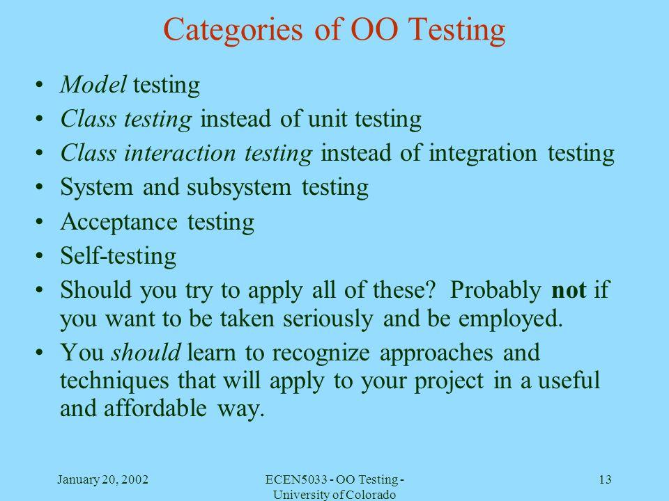 Categories of OO Testing