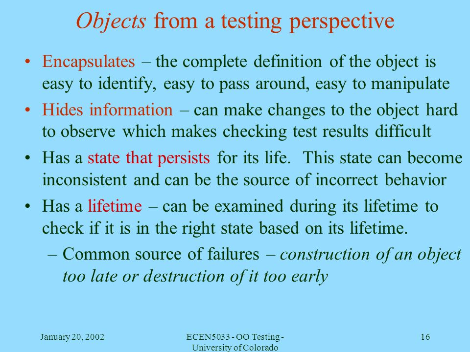 Objects from a testing perspective
