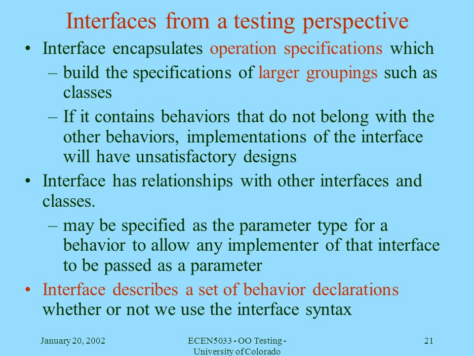 Interfaces from a testing perspective