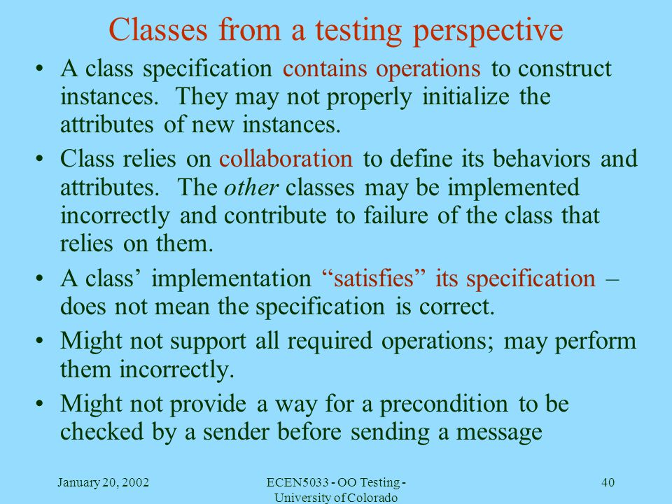 Classes from a testing perspective