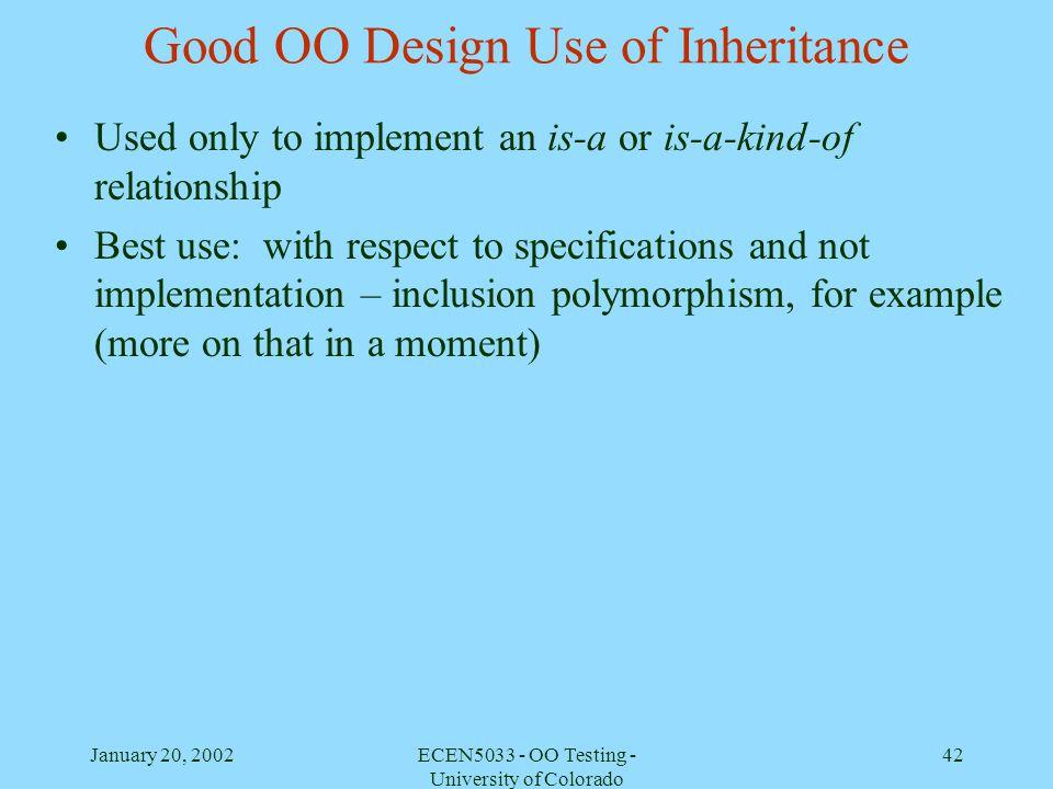 Good OO Design Use of Inheritance