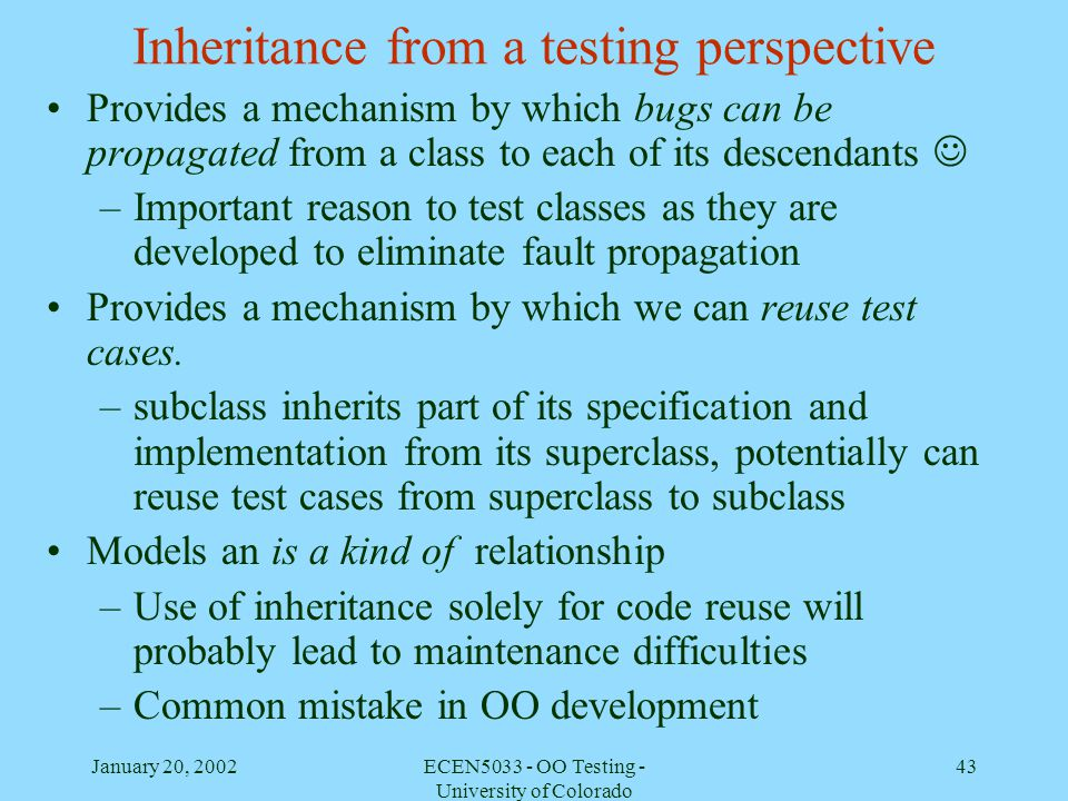 Inheritance from a testing perspective
