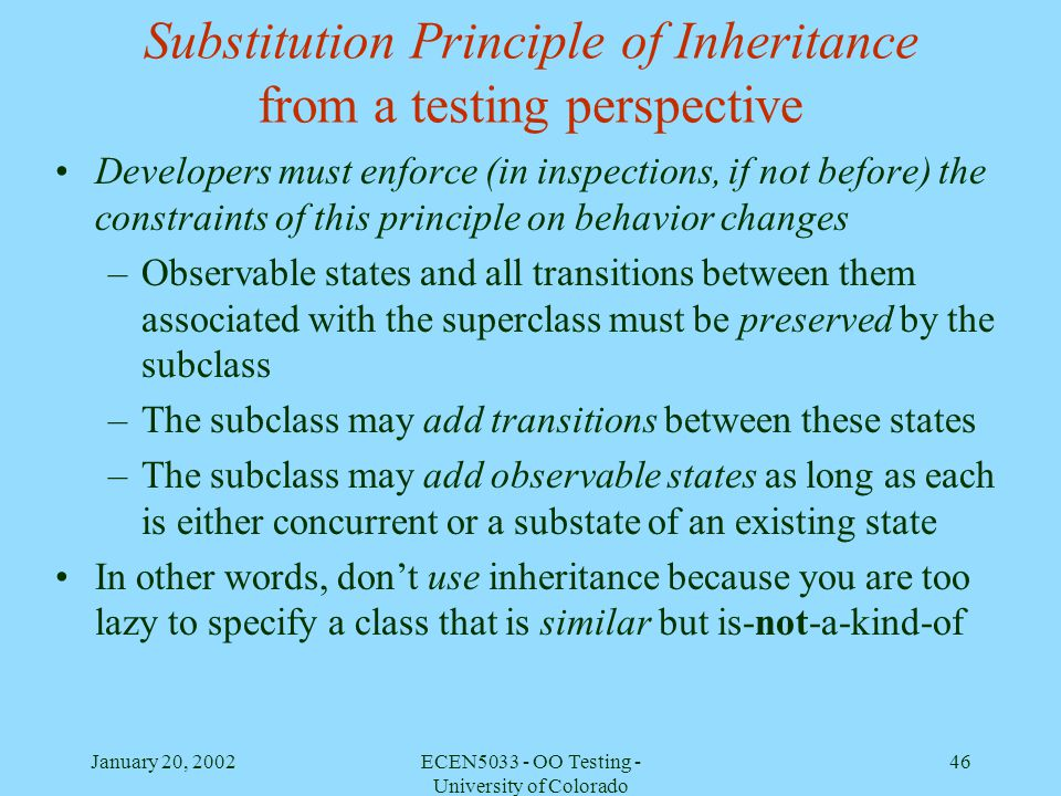 Substitution Principle of Inheritance from a testing perspective