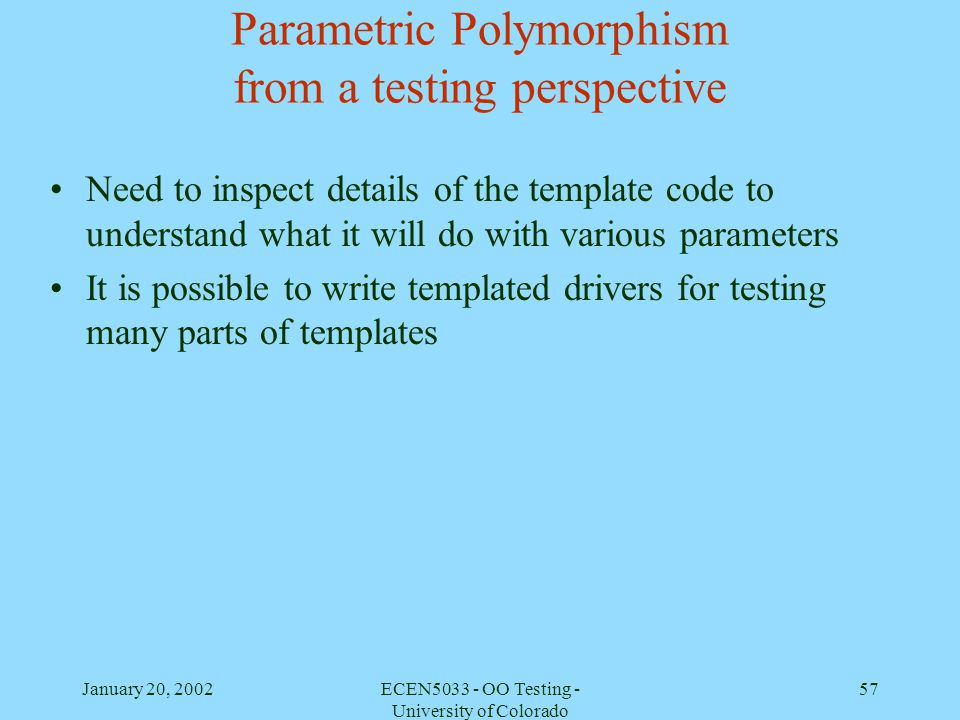 Parametric Polymorphism from a testing perspective