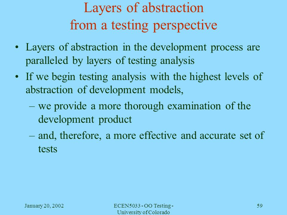 Layers of abstraction from a testing perspective