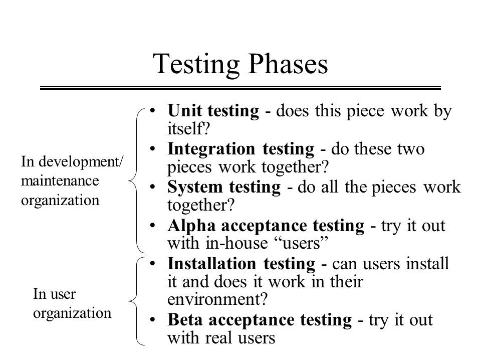 Testing Phases Unit testing - does this piece work by itself