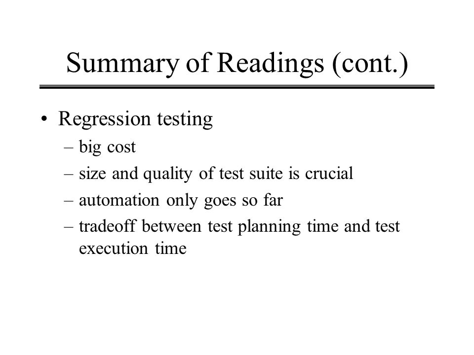 Summary of Readings (cont.)
