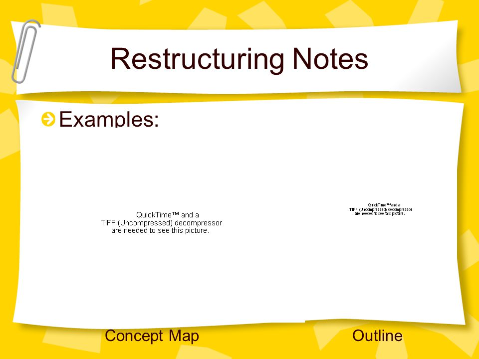 Restructuring Notes Examples: Concept Map Outline