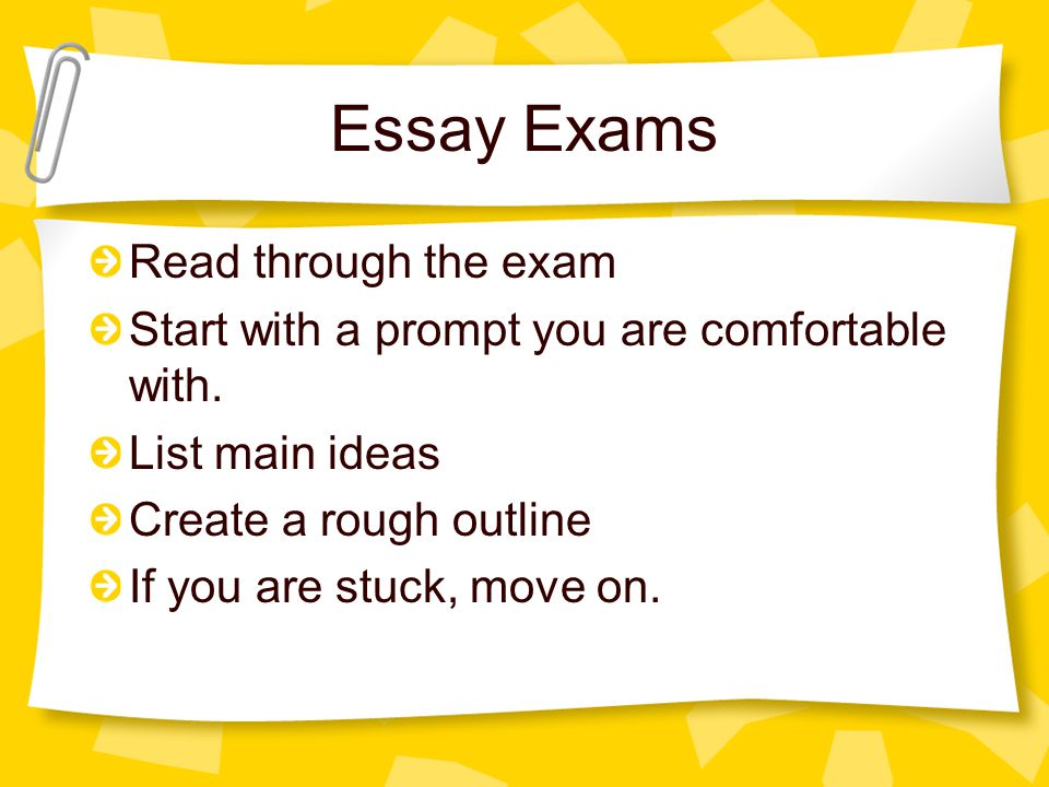 Essay Exams Read through the exam