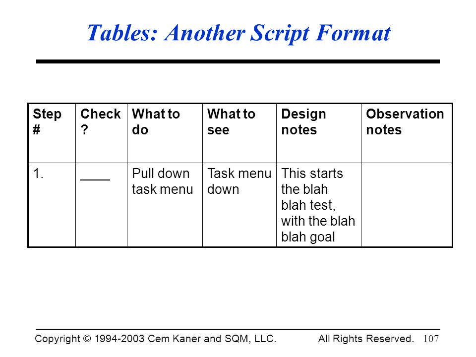 Tables: Another Script Format