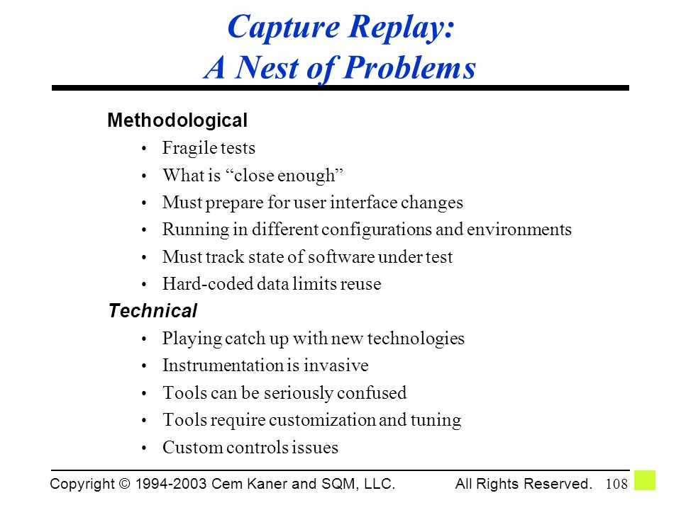 Capture Replay: A Nest of Problems