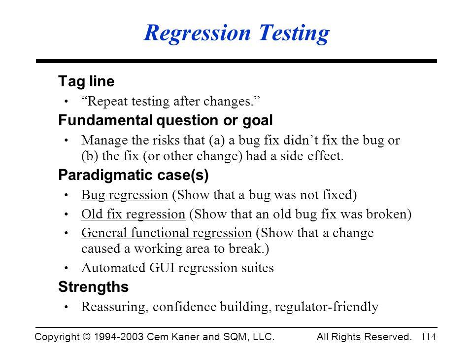 Regression Testing Tag line Fundamental question or goal