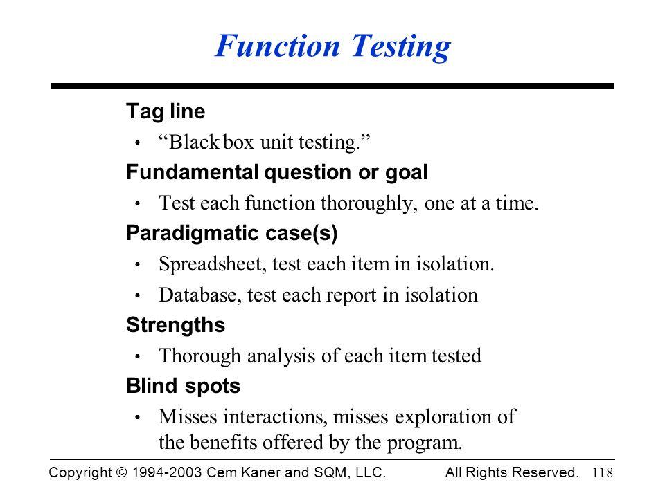 Function Testing Tag line Black box unit testing.