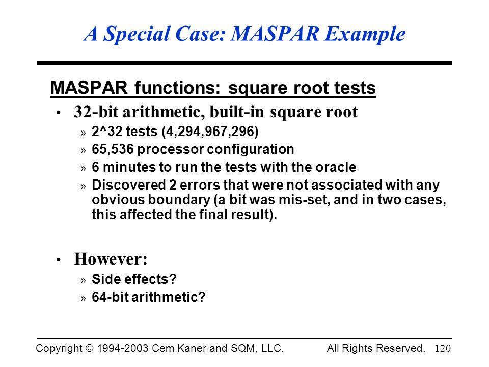 A Special Case: MASPAR Example