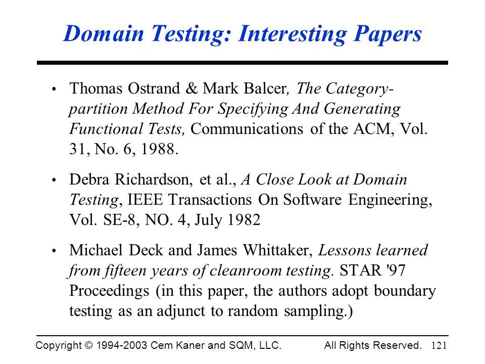 Domain Testing: Interesting Papers