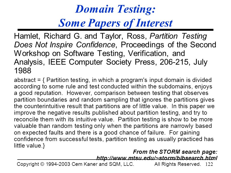 Domain Testing: Some Papers of Interest