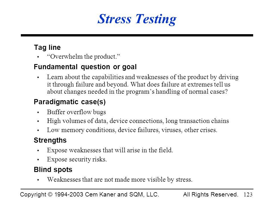 Stress Testing Tag line Fundamental question or goal