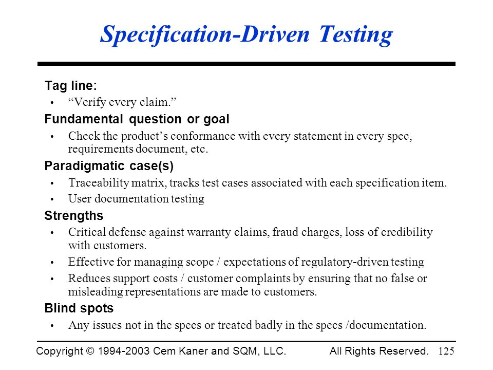 Specification-Driven Testing
