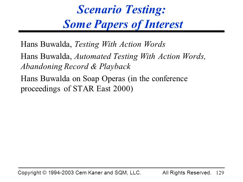 Scenario Testing: Some Papers of Interest